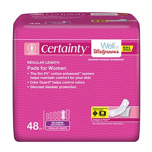 Walgreens Certainty Pads for Women, Maximum Absorbency, Regular Length