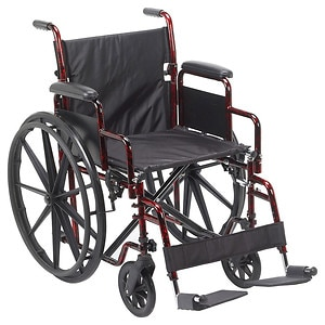 Drive Medical Rebel Lightweight Wheelchair, Flame Red, 18 inch