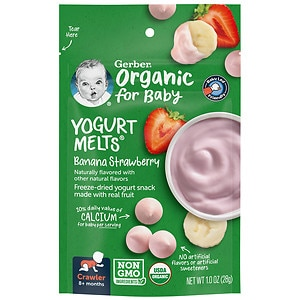 Gerber Organic Yogurt Melts, Freeze-Dried Yogurt Snacks, Banana Strawberry- 1 oz