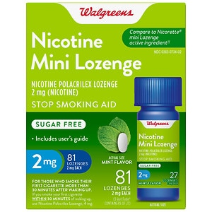 Walgreens Nicotine Mini-Lozenges 2mg Mint- 81 ea