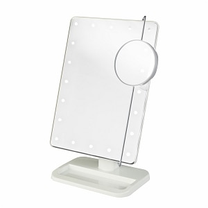 Jerdon Portable LED Lighted Adjustable Makeup Mirror, 10X Magnification, White- 1 ea
