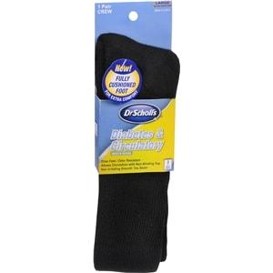 Dr. Scholl's Diabetes & Circulatory Health Crew Socks, Black, Large, 1 pr