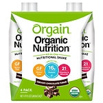 Orgain Organic Nutritional Liquid Shakes, Chocolate Fudge, 11 oz Cartons, 4 pk- 11 oz
