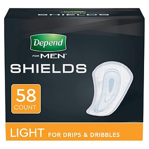 Depend Incontinence Shields for Men, Light Absorbency- 58 ea