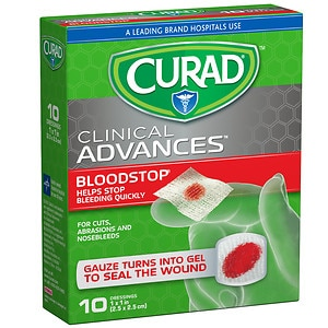 Curad Blood Stop Sterile Packets, White, 1 x 1 in (25 x 25 mm)- 10 ea
