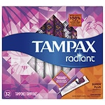 Tampax Radiant Tampons, Unscented, Super Plus- 32 ea