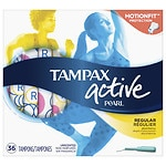 Tampax Pearl Active Tampons, Unscented, Regular- 36 ea