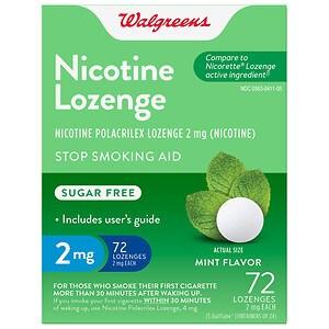 Walgreens Nicotine Lozenge, 2 mg, Mint- 72 ea
