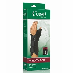 Curad Wrist & Forearm Splint with Abducted Thumb-Left, Large, Black- 1 ea