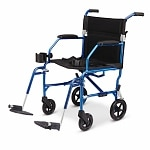 Medline Freedom Ultra-Lightweight Transport Chair, Blue, 19 x 16 inch- 1 ea