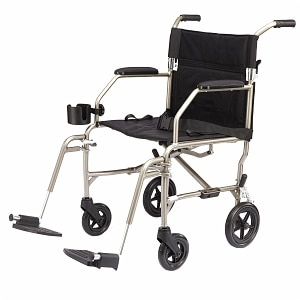 Medline Freedom Ultra-Lightweight Transport Chair, Silver, 19 x 16 inch