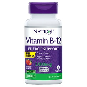 Natrol Vitamin B-12 5000mcg Fast Dissolve, Tablets, Strawberry- 100 ea