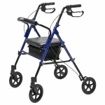 Lumex Set & Go Wide Height Adjustable Rollator, Blue- 1 ea