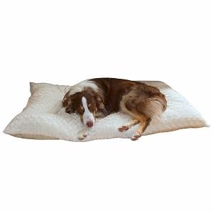 PAW Lavish Cushion Pillow Furry Pet Bed, Large, Latte- 1 ea