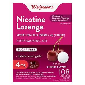 Walgreens Nicotine Lozenges 4 mg, Cherry, 108 ea