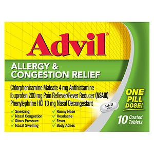 Advil Allergy & Congestion Relief Coated Tablets- 10 ea