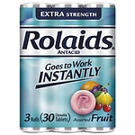 Rolaids Extra Strength Tablets 3 X 10 Roll Pack, Fruit