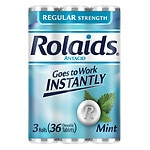 Rolaids Regular Strength Tablets 3 x 12 Roll Pack, Mint