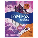 Tampax Radiant Plastic, Tampons, Unscented, Super Plus- 16 ea