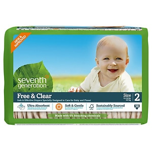 Seventh Generation Free & Clear Baby Diapers, Stage 2, 12-18 lbs, 5 pk- 36 ea