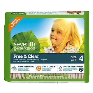 Seventh Generation Free & Clear Baby Diapers, Value Pack, Stage 4, 22-37 lbs, 5 pk- 27 ea