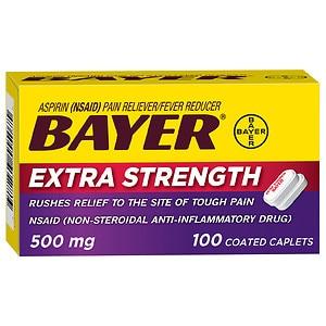 Bayer Extra Strength Aspirin 500 mg Coated Caplets- 100 ea