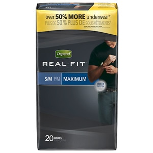 Depend Real Fit Incontinence Briefs for Men, Maximum Absorbency, Gray, Small/Medium- 20 ea