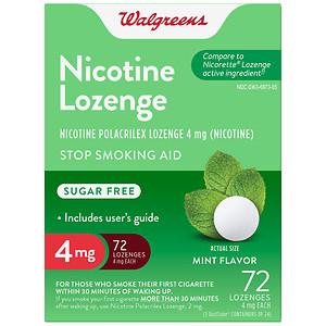 Walgreens Nicotine Lozenge, 4mg, Mint- 72 ea