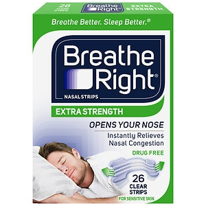 Breathe Right Nasal Strips, Extra Clear for Sensitive Skin- 26 ea