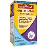 Nature Made Hair-Skin-Nails with 2500 mcg of Biotin, Softgels- 60 ea