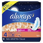 Always Ultra Thin Pads with Flexi-Wings, Unscented, Overnight- 52 ea