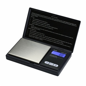 American Weigh SS Pocket Scale Back-Lit LCD Screen, Flip-Up Protective Cover AWS-600, Black