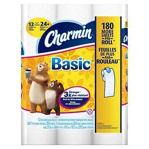 Charmin Basic Toilet Paper, Double Rolls- 12 ea