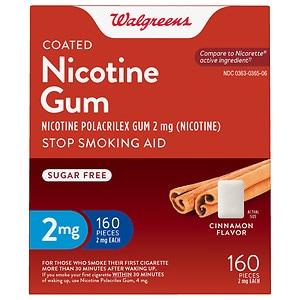Walgreens Coated Nicotine Gum 2 mg, Cinnamon, 160 ea
