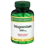 Nature's Bounty Magnesium 500mg Value Size, Tablets- 200 ea