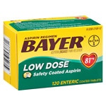 Bayer Aspirin Regimen Low Dose, Safety Coated Enteric Tablets- 120 ea