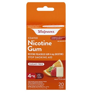 Walgreens Coated Nicotine Gum, 4mg, Fruit, 20 ea
