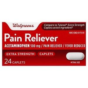 Walgreens Pain Reliever Extra Strength Caplets- 24 ea