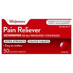 Walgreens Pain Reliever Extra Strength Easy Tablets- 50 ea