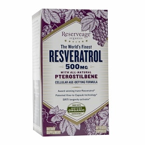ReserveAge Organics Resveratrol 500mg with All-Natural Pterostilbene, Capsules- 60 ea