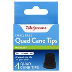 Walgreens Small Base Quad Cane Tips, Black, 1/2 Inch Diameter