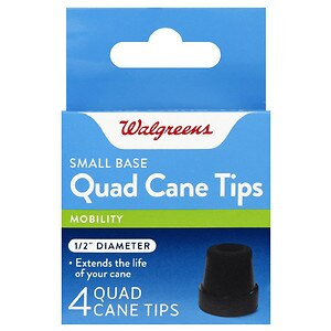 Walgreens Small Base Quad Cane Tips, Black, 1/2 Inch Diameter, 4 ea