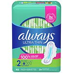 Always Ultra Thin Pads Long Super with Flexi-Wings- 42 ea