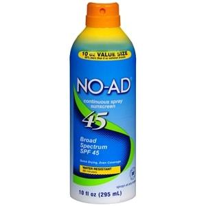 NO-AD Continuous Spray Sunscreen, SPF 45