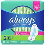 Always Ultra Thin Pads with Flexi-Wings, Long, Unscented, Super