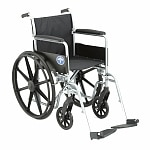 Medline Excel Basic Wheelchair Permanent Full Length Arms, Silver, 18 x 16 Seat- 1 ea