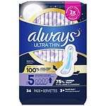 Always Ultra Thin Pads with Wings, Unscented, Overnight Extra Heavy- 34 ea