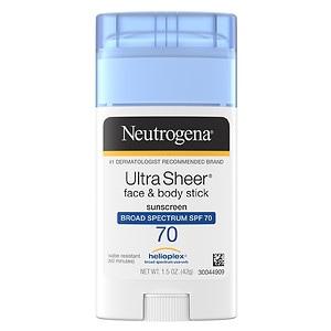Neutrogena UltraSheer Face & Body Stick Sunscreen, SPF 70- 1.5 oz