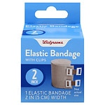Walgreens Elastic Bandage With Clips, 2 inch- 1 ea