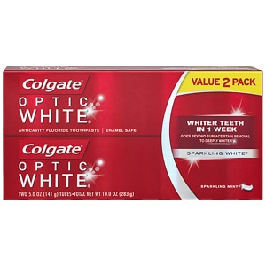 Colgate Optic White Anticavity Fluoride Toothpaste, Twin Pack, 2-5 oz Tubes, Sparkling Mint